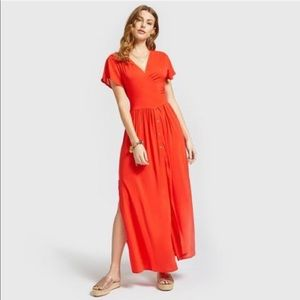 Yamamay red wrap around button up maxi dress